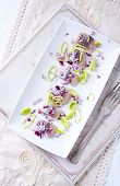 stock photo of leek  - Salted Herring Fillet with Leek and Onion - JPG