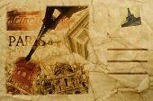 pic of moulin rouge  - composition simulating a vintage postcard of Paris - JPG