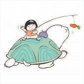 image of bye  - little girl say bye on the turtle in long journey - JPG