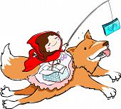 picture of little red riding hood  - Cute little girl in red riding hood lure a fox with money - JPG