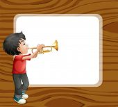 picture of trombone  - Illustration of a boy playing with his trombone in front of an empty template - JPG
