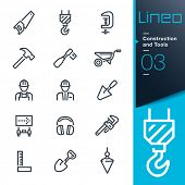 stock photo of pulley  - Construction and Tools outline icons - JPG