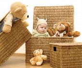 stock photo of gift basket  - A baby and the group of teddy bears are sitting in baskets - JPG