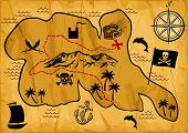 picture of treasure map  - Map of treasure island vector illustration on white background - JPG
