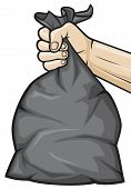 image of dustbin  - hand holding black plastic trash bag vector illustration - JPG