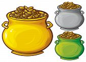 foto of pot gold  - pot of gold coins vector illustration on white background - JPG