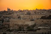 image of aqsa  - A view of Jerusalem old city at sunset - JPG