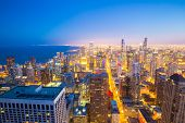 stock photo of willy  - Aerial view of Chicago City downtown at dusk - JPG