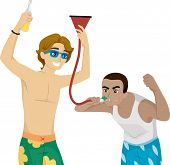 picture of chug  - Illustration of Male Teens Fooling Around with a Beer Funnel - JPG