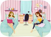 pic of time study  - Illustration of Female Roommates Enjoying Their Downtime - JPG