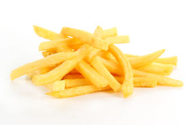 foto of potato-field  - pile of French Fries isolated on white background
