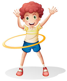 stock photo of hulahoop  - Illustration of a young boy playing with the hulahoop on a white background - JPG