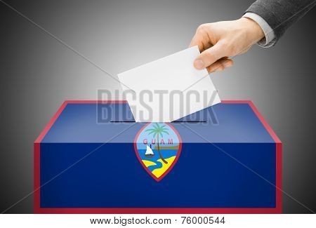 Voting Concept - Ballot Box Painted Into National Flag Colors - Guam
