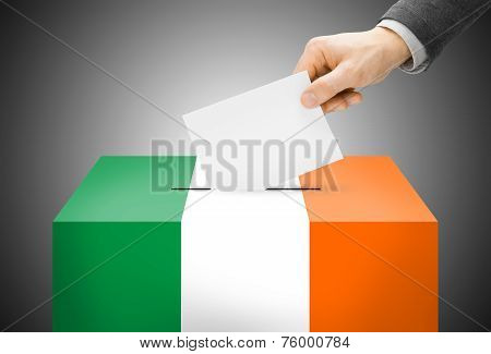 Voting Concept - Ballot Box Painted Into National Flag Colors - Ireland