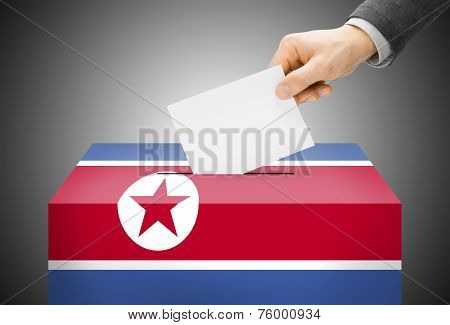 Voting Concept - Ballot Box Painted Into National Flag Colors - North Korea