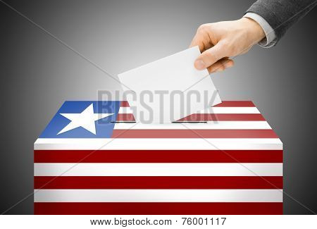 Voting Concept - Ballot Box Painted Into National Flag Colors - Liberia