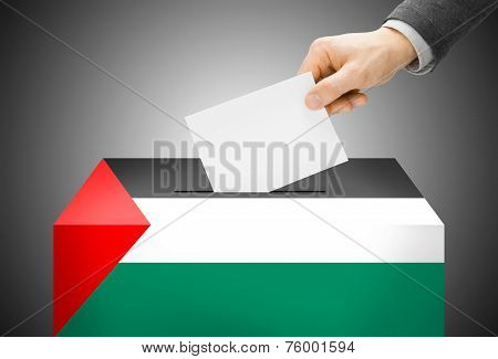 Voting Concept - Ballot Box Painted Into National Flag Colors - Palestine