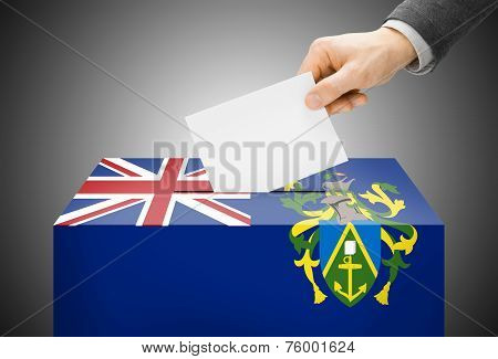 Voting Concept - Ballot Box Painted Into National Flag Colors - Pitcairn Island