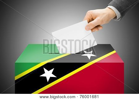 Voting Concept - Ballot Box Painted Into National Flag Colors - Saint Kitts And Nevis