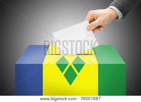 Voting Concept - Ballot Box Painted Into National Flag Colors - Saint Vincent And The Grenadines
