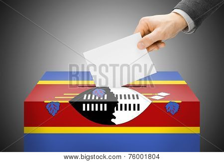 Voting Concept - Ballot Box Painted Into National Flag Colors - Swaziland