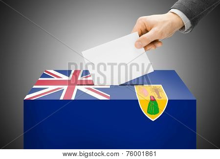 Voting Concept - Ballot Box Painted Into National Flag Colors - Turks And Caicos Islands