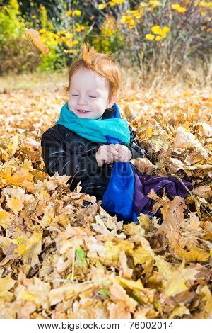 Fall. Adorable Child Boy With Leaves In Autumn Park