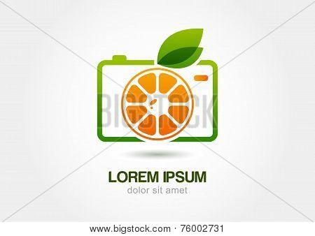 Abstract Colorful Orange Fruit Photo Camera. Vector Logo Icon Template