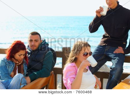 Turkish Young Friends By The Sea
