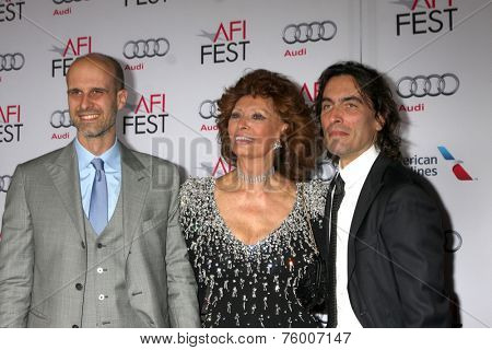 LOS ANGELES - NOV 12:  Edoardo Ponti, Sophia Loren, Carlo Ponti at the A Special Tribute to Sophia Loren at AFI Film Festival at the Dolby Theater on November 12, 2014 in Los Angeles, CA
