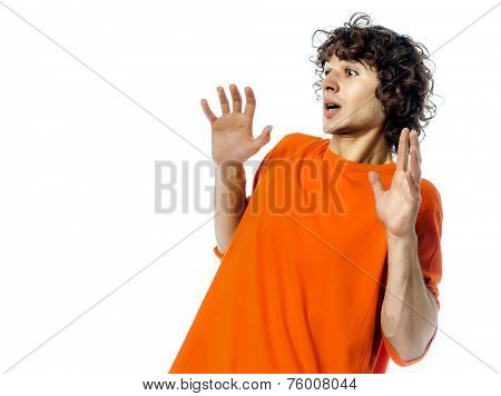 one young man  gesturing surprised fear afraid portrait in studio white background