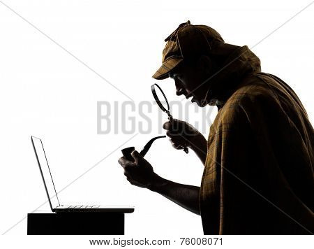 sherlock holmes laptop computer silhouette in studio on white background