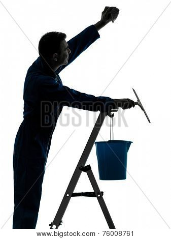 one  man house worker janitor cleaning window cleaner silhouette in studio on white background