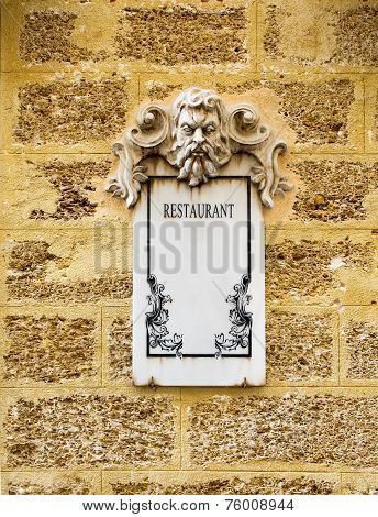 Restaurant Marble Plaque.