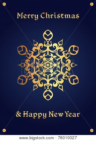 Elegant golden snowflake on a deep blue background