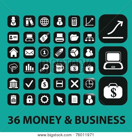 money, payment icons, buttons set, vector