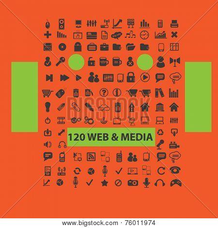 120 web media icons, signs, illustrations set, vector