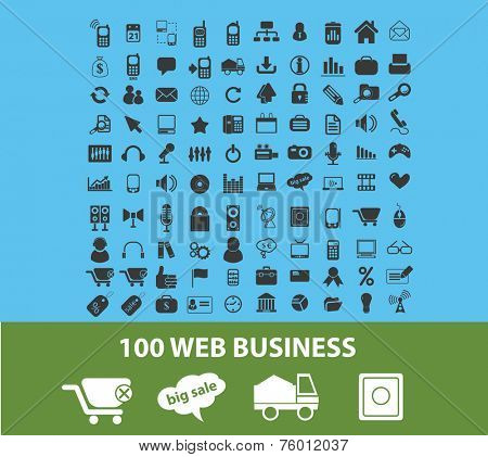 100 web business, logistics, delivery, ecommerce icons, signs, illustrations set, vector