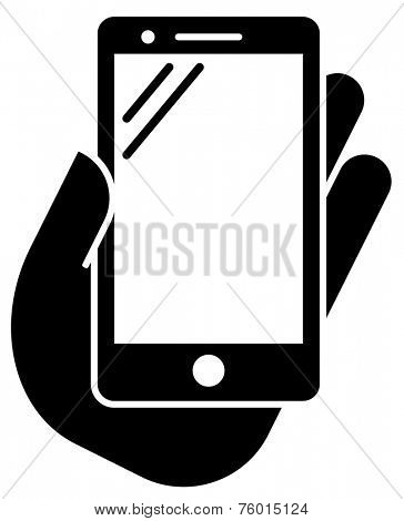 Tablet in hand icon