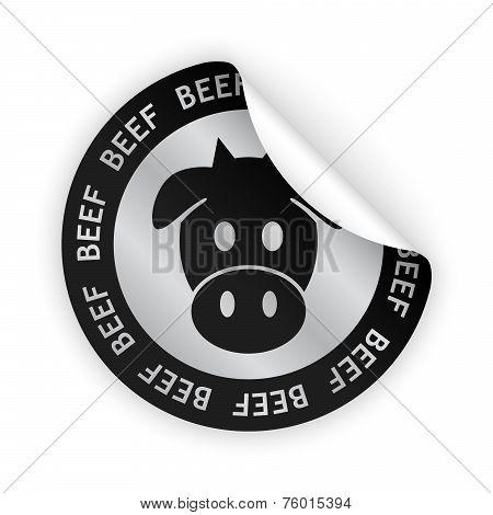 Vector Beef Meat Bent Sticker