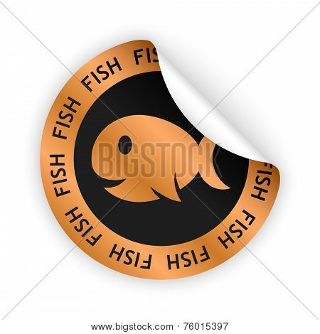 Vector Fish Meat Bent Sticker