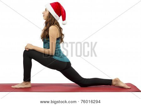 Christmas Yoga Woman In Low Lunge Position