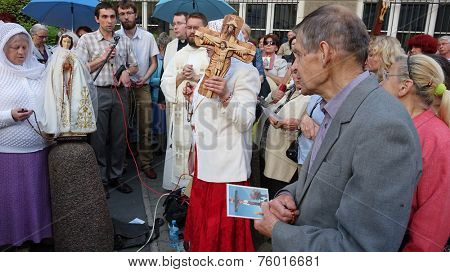 WROCLAW, POLAND - JUNE 27, 2014: Legal religious manifestation organized by The Church on street - June 27