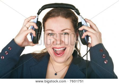 Laughing Happy Operator Young Woman In A Call Center