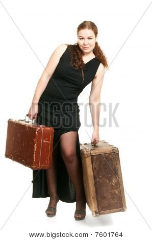 One Beautiful Woman In Black Dress And Two Ancient Suitcases The Luggage