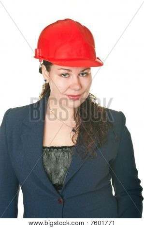 The Beautiful Woman Architect In Red Helmet.