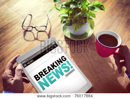 Businessman Holding Tablet News Concept