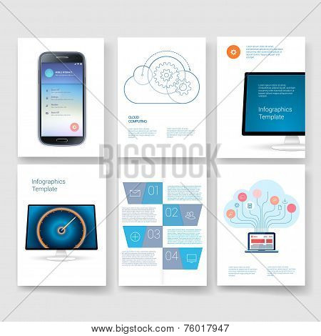 Vector brochure design templates mobile phone collection. Applications and Infographic Concept. Flye