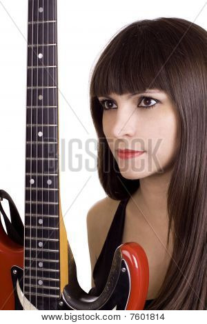 Brunette And Red Guitar