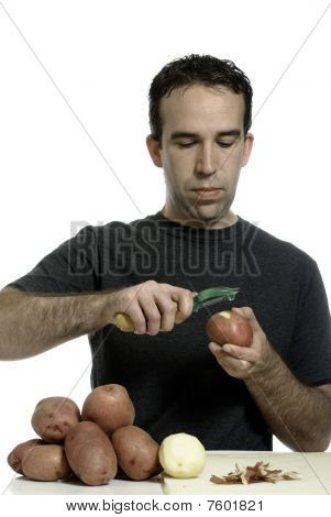 Man Peeling Potatoes